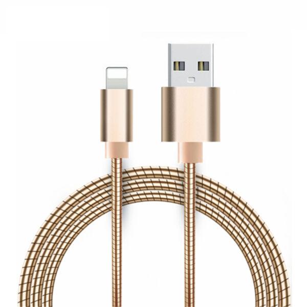 Cabo Usb Full Metal Lightning Dourado 1m Apple Iphone Img 01