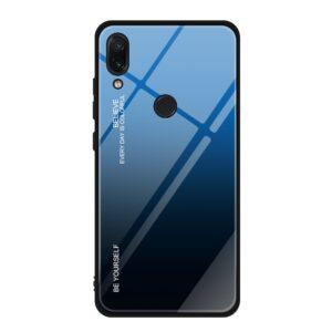 Capa Dura Emborrachada Vidro Temperado Gradiente Preto Azul Escuro Essager Be Yourself Xiaomi Redmi Note 7 Img 01