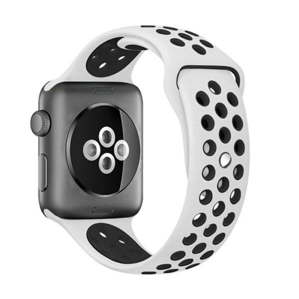 Pulseira Silicone Estilo Nike Apple Watch Branco Preto Img 01