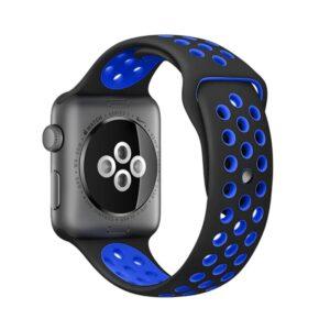 Pulseira Silicone Estilo Nike Apple Watch Preto Azul Img 01